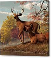Deer On An Autumn Lakeshore  Canvas Print