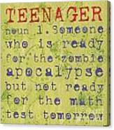 Definition Of Teenagers Canvas Print