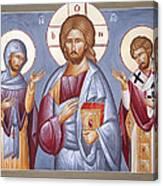 Deisis Jesus Christ St Anastasios And St Eleftherios Canvas Print