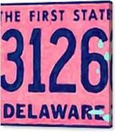 Delaware License Plate Canvas Print