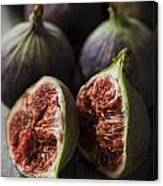 Delicious Figs On Wooden Background Canvas Print