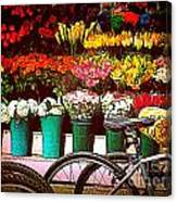 Delivery Bikes At Flower Market Canvas Print
