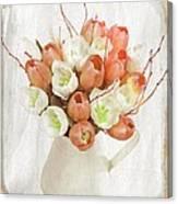 Deluxe Peach Tulips Canvas Print