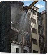Demolition Cranes Dismantling A Building Canvas Print