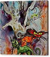 Demon Cats Haunted Canvas Print