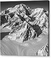 Denali And The Kahiltna Glacier Black And White Canvas Print