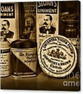 Dentist  -  Tooth Powder And More In Black And White Canvas Print