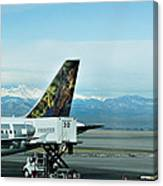 Denver Airport With Rockies In Background Canvas Print