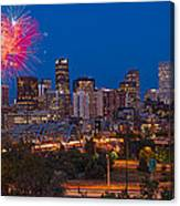 Denver Skyline Fireworks Canvas Print