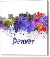Denver Skyline In Watercolor Canvas Print