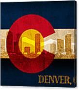 Denver Skyline Silhouette Of Colorado State Flag Canvas Canvas Print