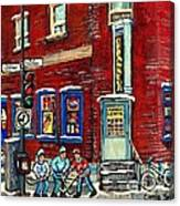 Depanneur Centre Pointe St Charles Montreal Verdun Paintings Hockey Art City Scenes Cspandau Canvas Print