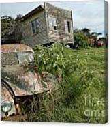 Derelict Morris And Old Truck On An Abandoned Farm Canvas Print