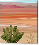 Desert, Cactus Brush, Mountains In Canvas Print
