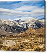 Desert View Of Majestic Mount Whitney Mountain Peaks With Clouds Canvas Print