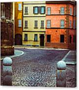 Deserted Street With Colored Houses In Parma Italy Canvas Print