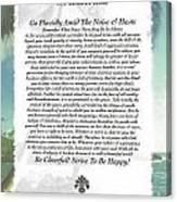 Desiderata At Palm Beach Canvas Print
