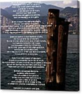 Desiderata On Lake View Canvas Print