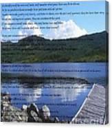 Desiderata On Pond Scene With Mountains Canvas Print