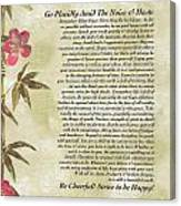 Desiderata Poem With Bamboo And Butterflies Canvas Print