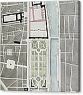 Design For Joining The Tuileries To The Louvre, 1808 Wc On Paper Canvas Print