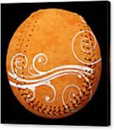Designer Orange Baseball Square Canvas Print