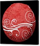 Designer Red Baseball Square Canvas Print