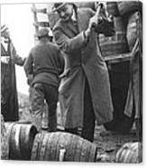 Destroying Barrels Of Beer Canvas Print