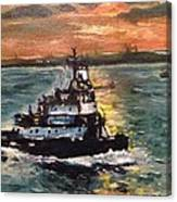 Detail Of Tugboat In Upper New York Bay  Canvas Print