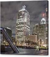 Detroit Fountain And Cityscape Canvas Print