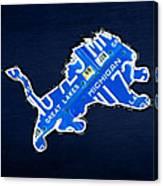 Detroit Lions Football Team Retro Logo License Plate Art Canvas Print