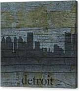 Detroit Michigan City Skyline Silhouette Distressed On Worn Peeling Wood Canvas Print