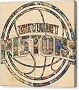 Detroit Pistons Poster Art Canvas Print