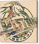 Detroit Pistons Retro Poster Canvas Print