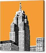 Detroit Skyline 2 - Orange Canvas Print