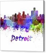 Detroit Skyline In Watercolor Canvas Print