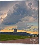 Devils Tower On The Horizon At Sunset Canvas Print