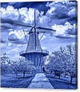 deZwaan Holland Windmill in Delft Blue Canvas Print