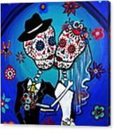 Dia De Los Muertos Kiss The Bride Canvas Print