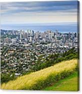 Diamond Head And The City Of Honolulu Canvas Print