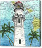 Diamond Head Lighthouse Hi Nautical Chart Map Art Canvas Print