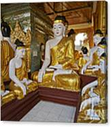 different sitting Buddhas in a circle in SHWEDAGON PAGODA Canvas Print