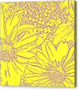Digital Cone Flowers Drawing Canvas Print