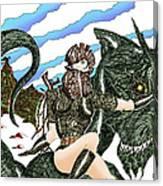Digital Dragon Rider Colour Version Canvas Print