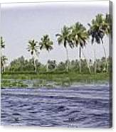 Digital Oil Painting - Water Rippling In The Coastal Lagoon Due To The Boat Canvas Print