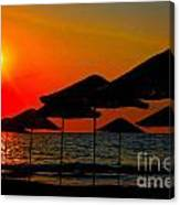 Digital Painting Of Beach Umbrellas At Sunset Canvas Print