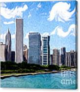 Digitial Painting Of Downtown Chicago Skyline Canvas Print