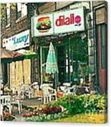 Dilallo Burger Diner Paintings Originalclassic Vintage Burger Joint St Henri St Catherine Cityscene  Canvas Print