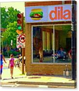 Dilallo Notre Dame Ouest And Charlevoix Sunny Street Montreal Urban City Scene Carole Spandau Canvas Print