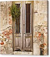 Dilapidated Brown Wood Door Of Portugal Canvas Print